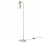 Mable, gold lamp with satin white shade.