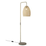 Floor lamp with woven robe shade.