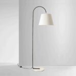 Black floor lamp with white shade