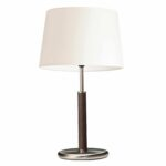 Leather and silver table lamp with a cream shade.