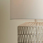 White Woven Rope Table Lamp with white shade