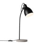 Satin Black Desk Lamp with Concrete Base