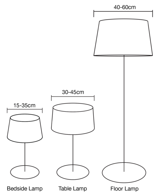 lamp shade heights line drawing